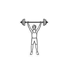 sportsman with heavyweight barbell hand drawn vector image