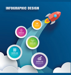 Startup infographics with 5 circle data template vector