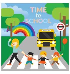 Teacher lead Kids cross the Street to School vector