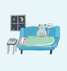the cat wakes the owner meowing at night cute vector image