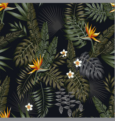 Tropical night seamless pattern black background vector