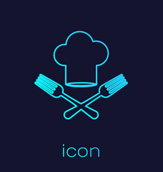 Turquoise line chef hat and crossed fork icon vector