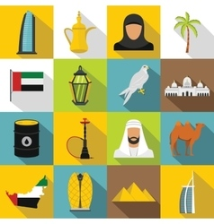 UAE travel icons set flat style vector image