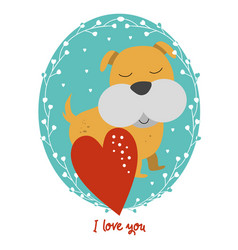 valentines day card with dog vector image