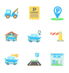 Valet parking icons set cartoon style vector
