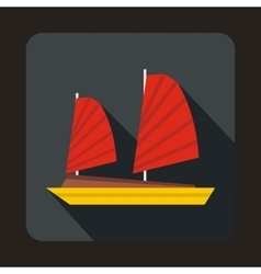 Vietnamese junk boat icon flat style vector
