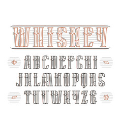Vintage serif font with decoration vector