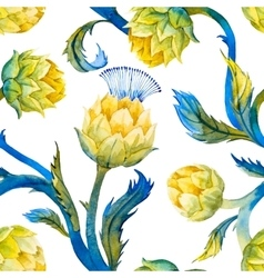 Watercolor art nouveau artichoke pattern vector