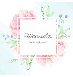 watercolor pink peony flower bouquet wreath frame vector image