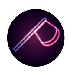 wooden axe tool retro neon icon style vector image
