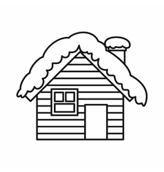 Wooden house covered with snow icon outline style vector