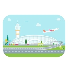 Cartoon Airport Building and Plane vector image