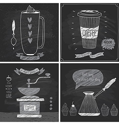 Coffee cards - Chalkboard style vector image vector image