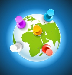 Color pins on the earth concept vector