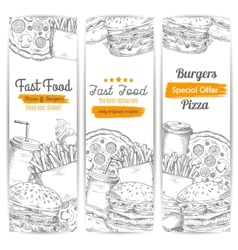 Fast food restaurant menu sketch banner set vector image vector image