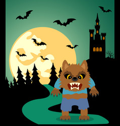 halloween background with werewolf and full moon vector image vector image