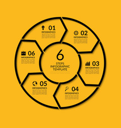 Infographic circle template with 6 steps vector image