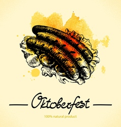 Oktoberfest hand drawn watercolor background vector image