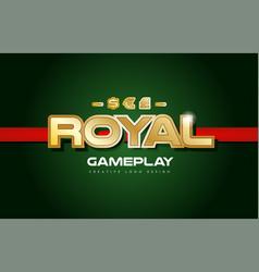 Royal word text logo banner postcard design vector