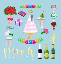 Set wedding cake with couple newlyweds glasses vector