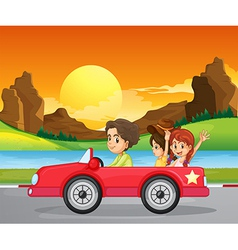 A boy travelling with two cute girls vector image vector image