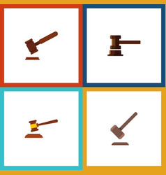 flat icon lawyer set of justice hammer vector image vector image