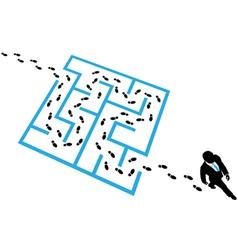 Person solves business problem maze puzzle vector image vector image