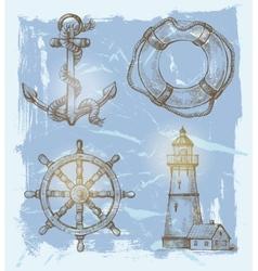 sea elements vector image vector image