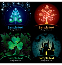Set of decorative cards vector image vector image
