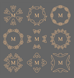 abstract arrow line frame monogram logos set vector image vector image