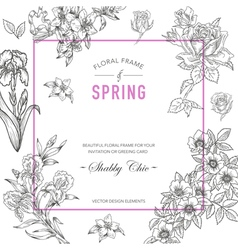 Floral Frame Invitation Card Wedding Card vector image vector image