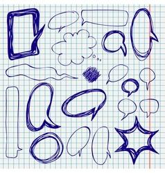 Speech Bubbles Doodles on Notepaper vector image