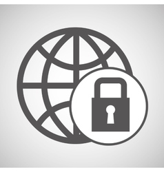 technology globe protection lock media graphic vector image