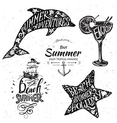 vintage summer typography design with labels vector image vector image