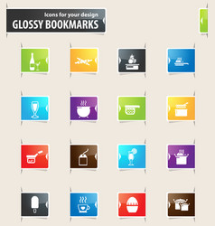 food and kitchen bookmark icons vector image vector image