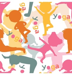 Kids doing yoga silhouettes pattern vector image vector image