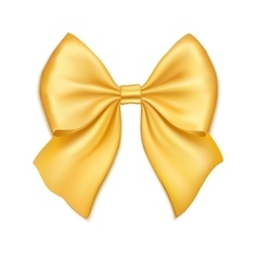 Realistic golden bow isolated on white background vector