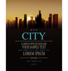 Urban landscape buildings and sunrise vector