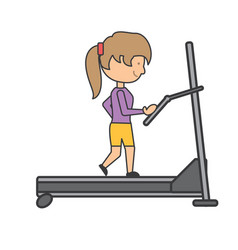 woman running on a treadmill vector image vector image