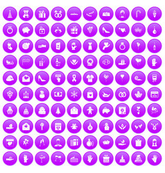 100 gift icons set purple vector