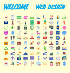 100 universal icons for web design on different vector image
