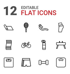 12 fitness icons vector