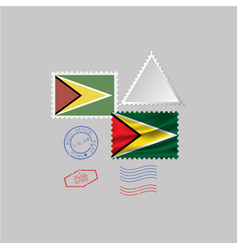 A set stamps with image flag guyana vector