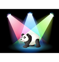 A stage with a giant panda vector image
