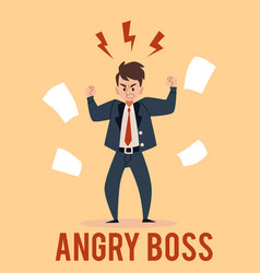 angry business man stands raised fists with vector image