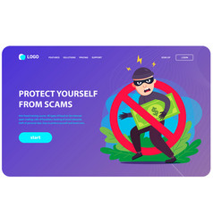 Anti-fraud landing page a thief steals your money vector