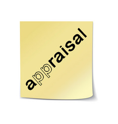 Appraisal lettering sticky note vector