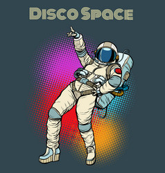 Astronaut woman dancing disco vector
