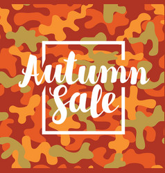 autumn sale banner on a camouflage background vector image