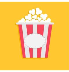 Big Popcorn with empty label tag Cinema icon flat vector